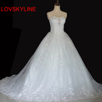 2017 Spring Bride Tube Top Slim Long Trailing Bandage Wedding Dress For Bride Gown Appliques Vintage