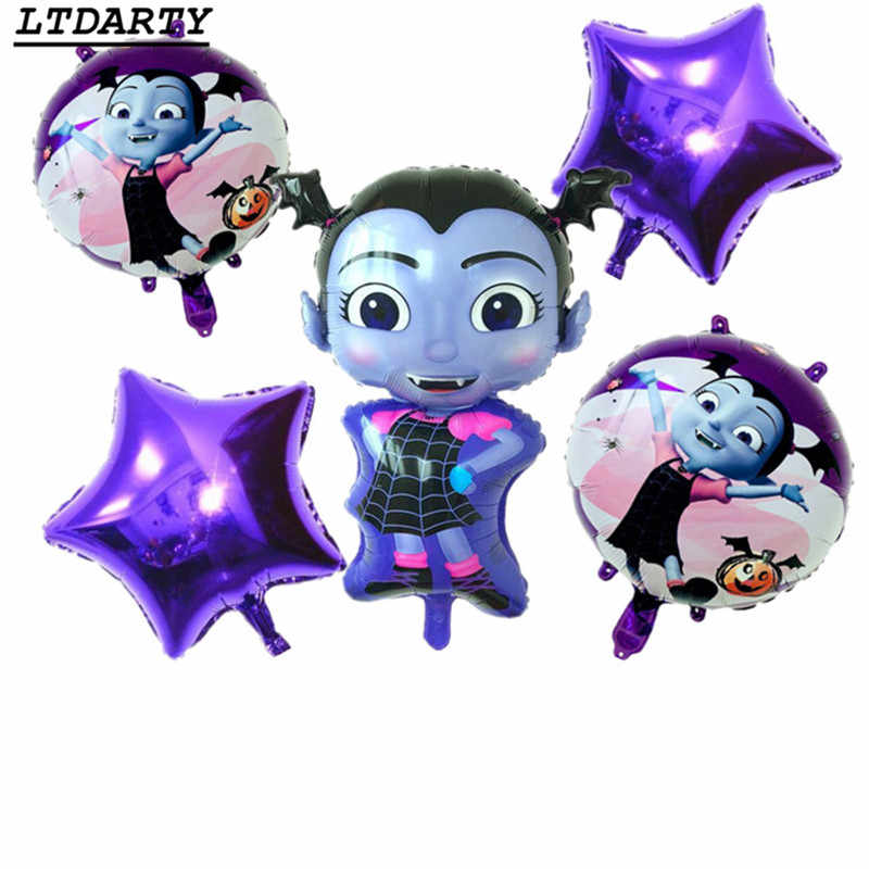 5pcs  Vampire Girl Pentagram Witch Helium Foil Balloons Children Toys Globos Halloween Party vampirina Balloon Decor