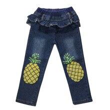 Одежда для малышей; детские джинсы с принтом ананаса для маленьких мальчиков и девочек; длинные штаны; одежда для маленьких мальчиков; L323