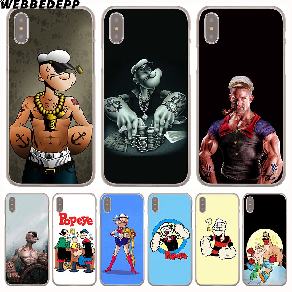 WEBBEDEPP popeye Hard Transparent Cover Case for iPhone 8 Plus 7 Plus 6 6s Plus X/10 5 5S SE 5C 4 4S
