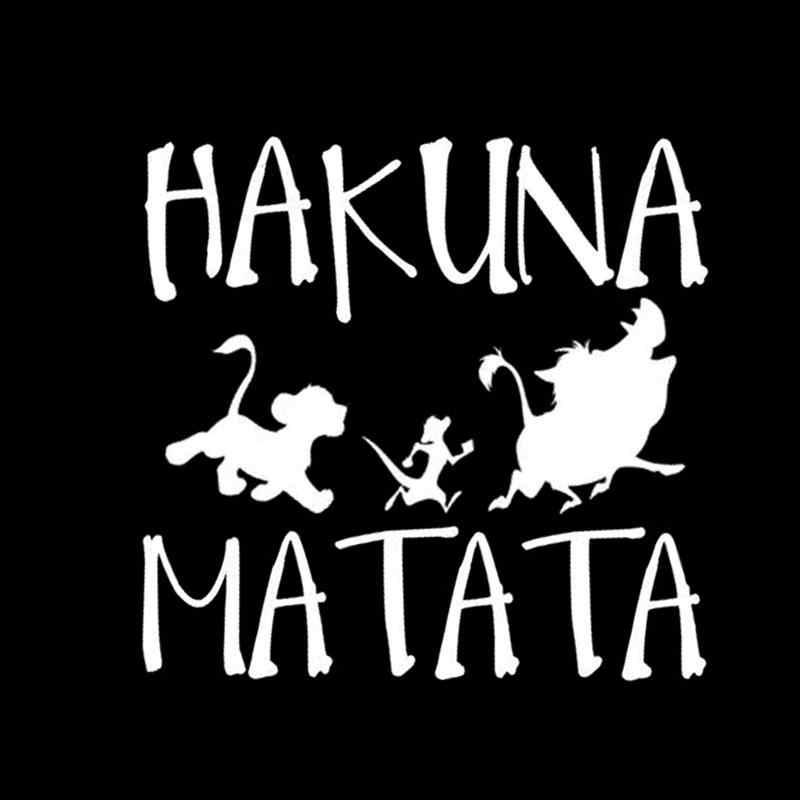 Lucu Mobil Stiker 13.8*13.3 Cm Hakuna Matata Lion King Simba Mobil Styling Stiker Vinyl Decal Sepeda Motor Tubuh stiker Dekorasi