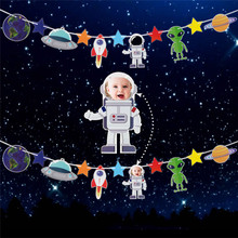 Outer Space Banner Astronaut Rocket Ship Foil Balloons System Theme Party Boy Kids Birthday Favors