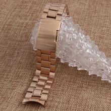Venda de acero inoxidable sólido mariposa broche de pulsera de Metal Band oro rosa correa del reloj de plata 18 mm 20 mm 22 mm 24 mm