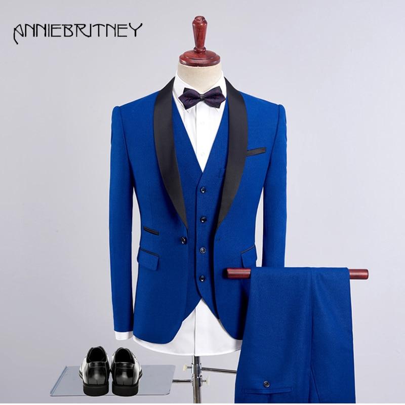 b6f71814614e 2018 Navy Blue Formal Wedding Suits for Men Satin Shawl Lapel Slim Fit  Groom Tuxedo Retros Blazer 3 Pieces Ternos Masculino | DONRANDBOUTIQUE