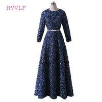 紺教徒のイブニングドレス2017 aラインハイカラーロングスリーブサッシ女