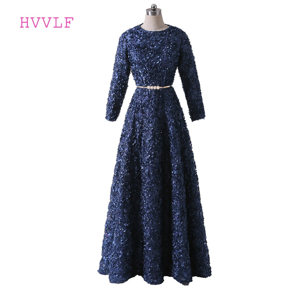 Navy Blue Muslim   Evening     Dresses   2017 A-line High Collar Long Sleeves Sash Women Long   Evening   Gown Prom   Dresses   Robe De Soiree