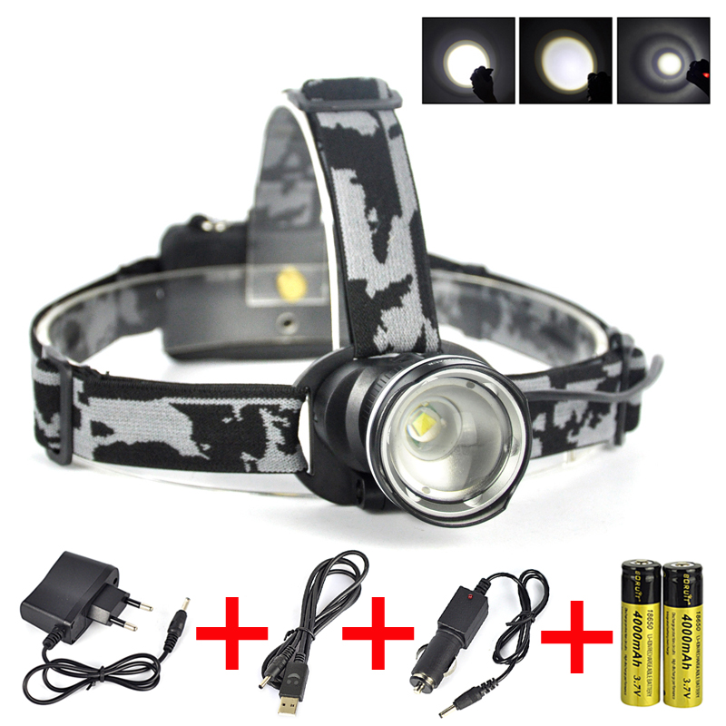 3 Modes Zoomable XM L T6 LED Headlamp Head Light 2000Lm Camping Flashlight Torch Lamp Ac