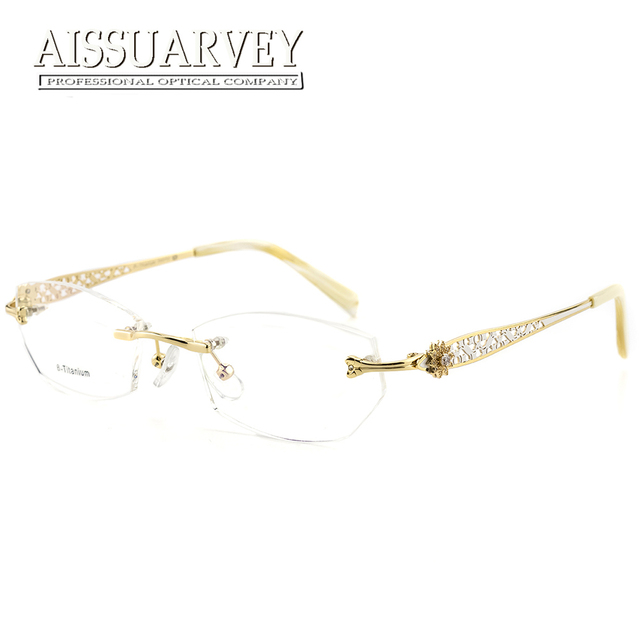 b1ba10cbe Rimless Eyeglasses Frames Women Glasses Fashion Optical Prescription  Titanium Diamond Rhinestone Hollow Brand Designer Eyewear