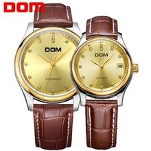 Пары часов DOM бренд механические Роскошные водонепроницаемые Нержавеющая сталь пары часы Кристалл Hombre m95gl 9 м x g95gl 9 м