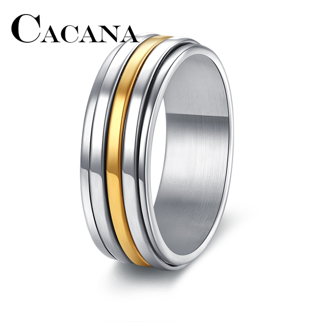 CACANA  NEW 7mm Wide Classic 3-Row 316L Stainless Steel Rings Simple Design Men Wedding Rings USA Size 7-11 DROP SHIPPING