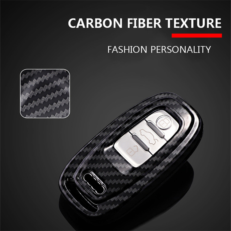 Image 4 - Carbon fiber+PC Protection Car Key Cover Case For Audi A6L A4L Q5 A3 A4 B6 B7 B8 Smart Carbon Fiber Grain Shell Accessories-in Key Case for Car from Automobiles & Motorcycles