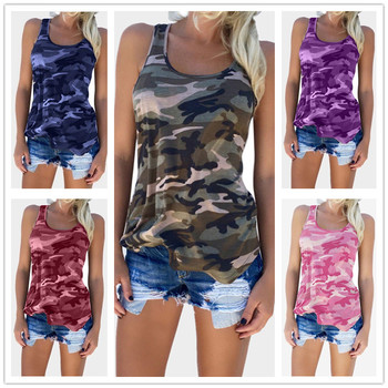 4XL 5XL Large Size Summer Sexy Tops Women Sleeveless O-Neck Tank Camouflage Casual Top Femme Slim Tee Shirts Plus Size Women Top plus open shoulder camouflage top