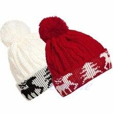 Женская мода Рождественский Олень Зима Теплая Вязания Трикотажные Лыж Шапочка Бал Cap Hat