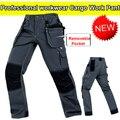 Mecânico dos homens calça calças multi-bolsos de carga calças de trabalho cinza pant carpenter calças dos homens dos homens com joelheiras frete grátis