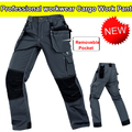 Men's  mechanic pant trouser multi-pockets cargo trousers grey work pant men with knee pads  mens carpenter pants free shipping