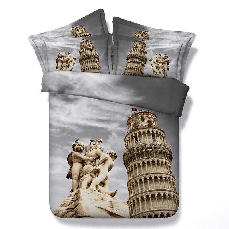 La Tour Penchée de Pise couette literie ensembles bedsclothes twin plein reine roi cal roi taille couette couvre chambre Adulte tissé