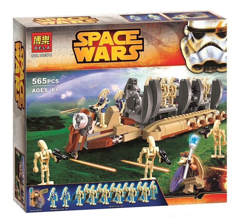 Bela 565pcs 10374 Compatible Legoe Star Wars Battle Droid Troop Carrier Building Blocks Bricks Toys gonlei 10374 new starwars battle droid troop carrier model building blocks kid toys gifts figure boys compatible with
