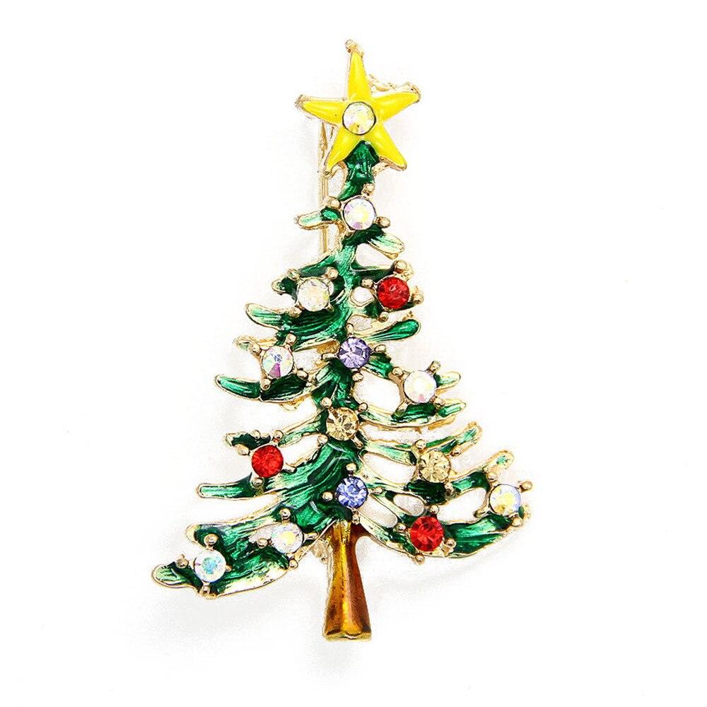 1 шт. 5*3 см красочные Новый Милая Рождественская елка брошь булавки кристалл сплав со стразами белый Новогоднее украшение Navidad арбол nt #
