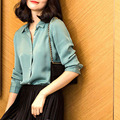 2016 Venta Caliente Superior Blusas Tallas grandes Tops Envío Gratis S-xxxl Estiramiento Salvaje Suelta Camisa de Seda Femenina minimalista de manga larga