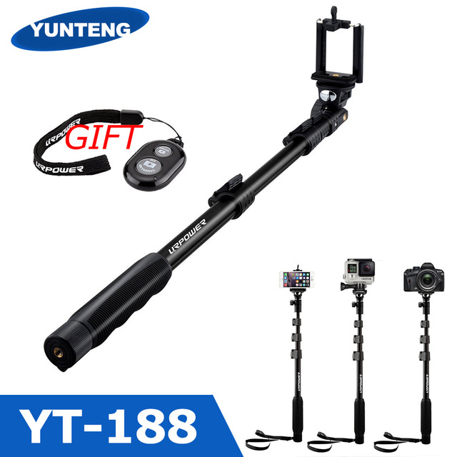 Yunteng 188 autodisparador barra telescópica portátil de mano monopod para el teléfono iphone 5s 6 s puls 7 s meizu huawei htc xiaomi 5