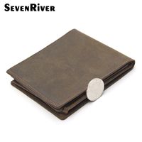 Top COWATHER Crazy Horse Leather Men Bifold Wallets Vintage Genuine Leather Wallet With Zipper Pocket For