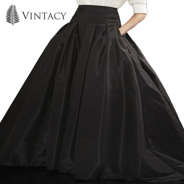 Vintacy 2017 donne stile vintage nero palla pavimento gonne partito dell'abito di sfera di modo lunga gonna donne causale lunghezza del pavimento primavera