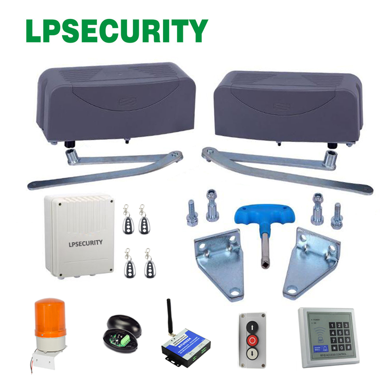 LPSECURITY 400kg per leaf Articulated Swing Gate Opener kit for  Swing Gates(sensor lamp gsm module button keypad optional) lpsecurity manual push button switch for barrier gates and gate openers commercial garage door opener three button station