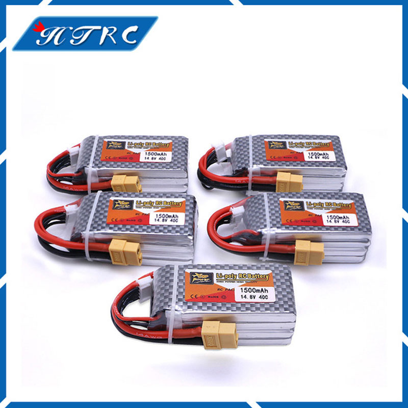 5pcs 1500Mah 14.8V 4S 40C Lithium Li-po Battery XT60 Plug For RC Helicopter Qudcopter Drone Truck Car Boat Bateria 1pcs 1500mah 14 8v 4s 45c li po battery xt60 plug for rc helicopter qudcopter drone truck car boat