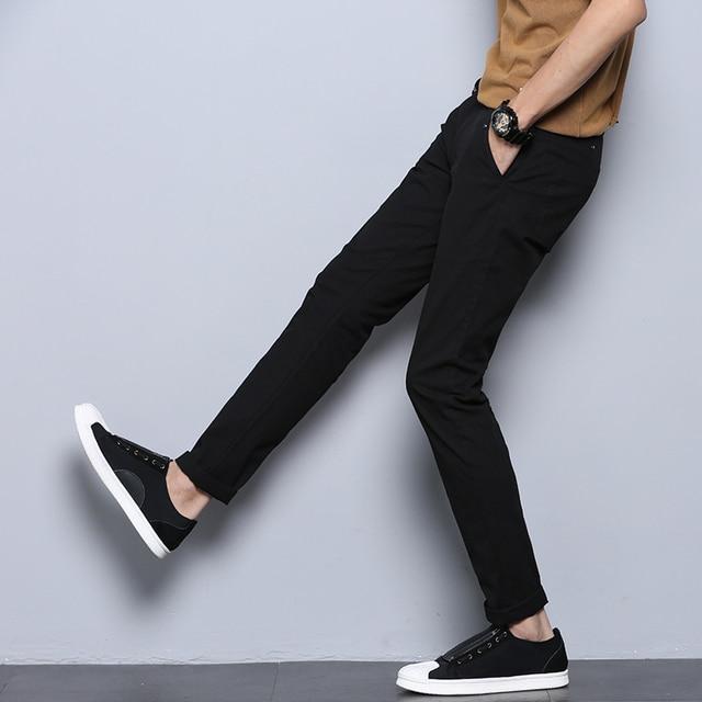 jantour 2018 New Casual Men Pants Cotton Slim Straight Trousers Fashion Business Design Solid Khaki Black Pants Men Plus Size 38 37