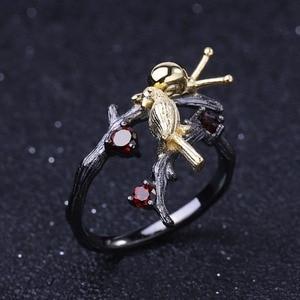 Image 3 - GEMS בלט 925 סטרלינג כסף בעבודת יד מתכוונן להרחיב טבעת 0.43Ct טבעי גרנט חלזונות & ציפור על סניף טבעות עבור נשים