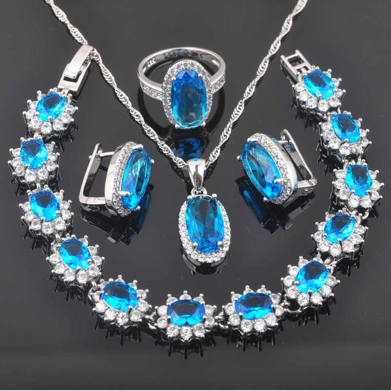 Elegant 925 Silver Wedding Jewelry Sets Blue Cubic Zirconia Women Pendant/Necklace /Ring/Earrings/Bracelet Dropshipping QS0168