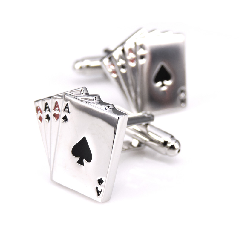 HYX Jewellery 4A poker cufflinks male French shirt cuff links Cards Design cufflink Fashion for mens Jewelry Gift