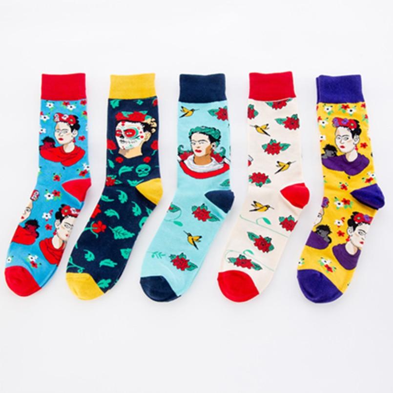 Underwear & Sleepwears Reasonable Men Women Crew Socks Funny Happy Summer Socks Cotton Socks Flower Leaves Square Triangle Ripple Pattern Unisex Socks Male