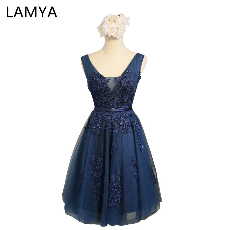 LAMYA Real Photos Short Navy Blue Evening   Dresses   2019 V Neck Vintage Lace Appliques Beaded   Prom     Dress   Vestido De Festa EV2970