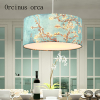 Mediterranean pastoral style blue chandelier living room restaurant bar simple cloth cover small fresh lamp Postage free