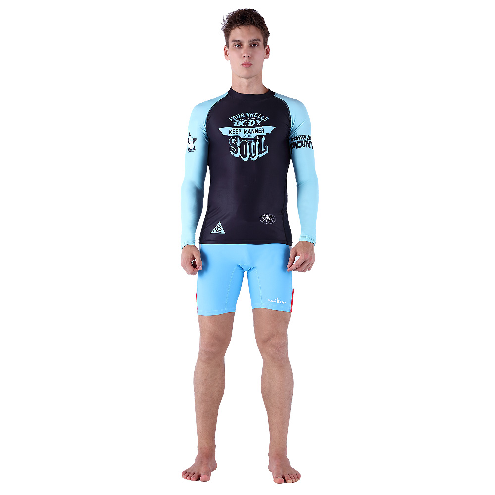 Reliable Mens Long Sleeve Upf 50 Water Sports Compression Rash Guard Set Zip Shirt Leggings Full Body Swimsuit Bathing Suit Swimming Trunks Tights