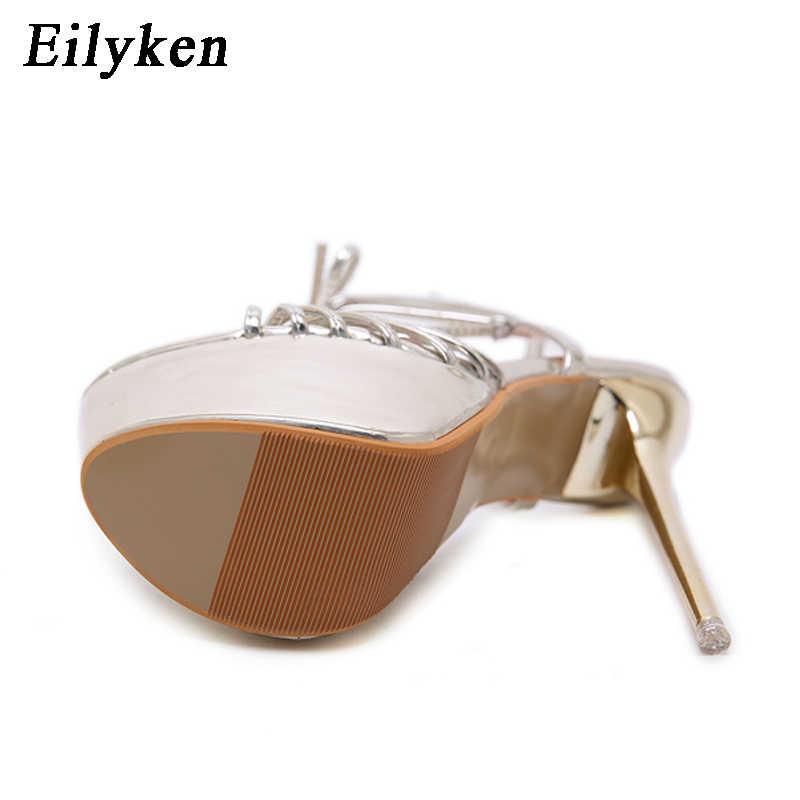 Eilyken/женские босоножки золотистого цвета; Летняя обувь; женские босоножки на платформе и высоком каблуке 17 см; женская обувь для стриптиза; большие размеры 34-40