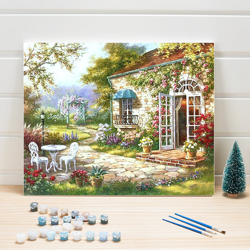 Paint Oil Painting By Numbers Country Landscape DIY Acrylic Coloring Art On Canvas Wall Pictures For Living Room Adults Drawing