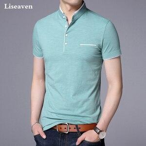 Image 5 - Liseaven גברים מנדרינית צווארון חולצה בסיסי חולצת טי זכר קצר שרוול חולצה חדש לגמרי חולצות & tees כותנה חולצה