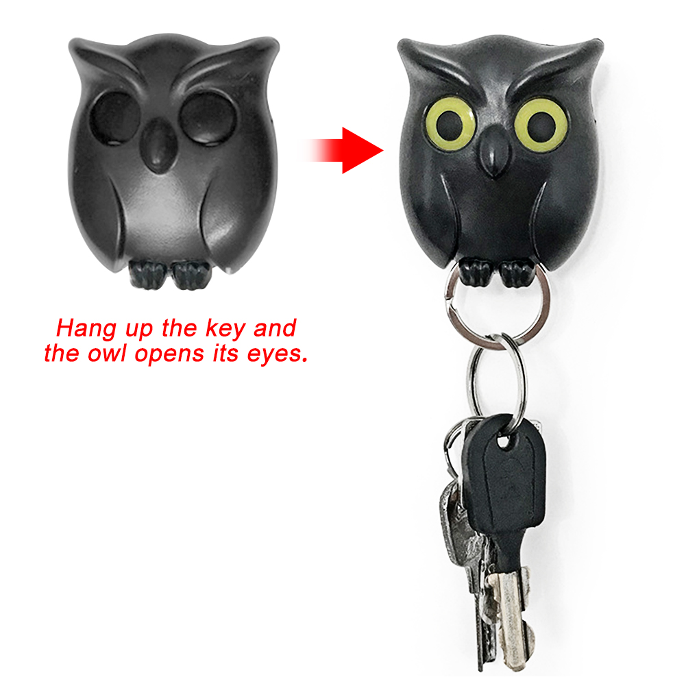 1 PCS Black Night Owl Magnetic Wall Key Holder Magnets Keep Keychains Key Hanger Hook hanging key it will open eyes