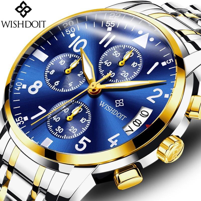 WISHDOIT Hot Luxury Brand Quartz Watch Men Fashion Stainless Steel Analog Sport Wrist Watches Male Clock Relogio Masculino Gift