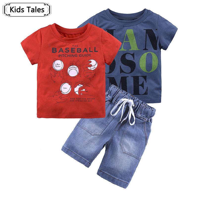 ST364 Summer Boys Clothing Sets Children Clothing Set Kids Boys Clothes with Tops T-shirts + Jeans Pants 3PCS. Suit for Girls new tops pants toddler girl clothing summer children clothes set baby boys girls tracksuit kids cloth kids hip hop clothing