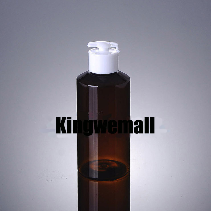 Wholesale 300pcslot  Capacity 150ml Empty PET Brown Bottle with White Press Lids For Lotion or Cosmetic Packaging XCI37