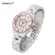 2018 New Luxury Brand LONGBO Women White Ceramic Watch Fashion Gold Female Watches Lady Quartz Wrist Watches Relojes Mujer 8628 luxury white ceramic water resistant classic easy read sports women wrist watch free shipping top quality lady ceramic watches