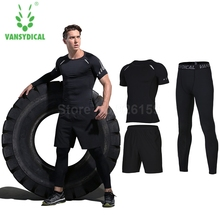Vansydical Mens Sports Suits Basketball Jersey For Men 3pcs Compression Running Gym Fitness T Shirt Tights Sets Man