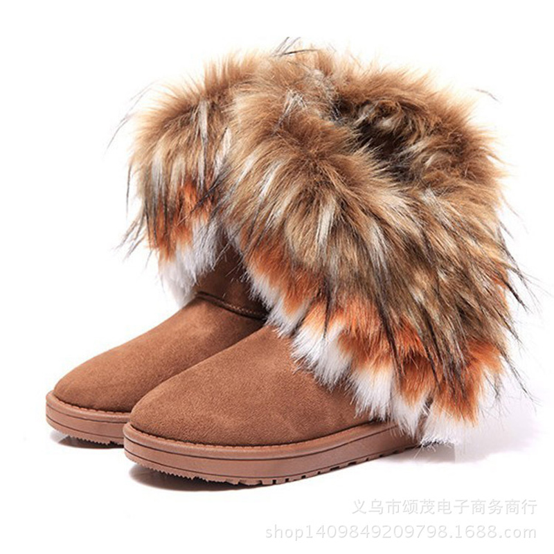 2016 New Fashion Women Snow Boots Round Toe Solid Fur Warm Woman Boots Comfortable Wild Casual