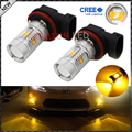 2pcs JDM Gold Yellow 3000K 30W CRE'E High Power H8 H11 LED Replacement Bulbs For Fog Lights, Driving Lights