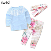 New 2017 Fashion Baby Girl Clothes Cotton Long Sleeved Lace T-shirt+Pants +Headband 3Pcs Suit Baby Girls Clothing Sets FF230