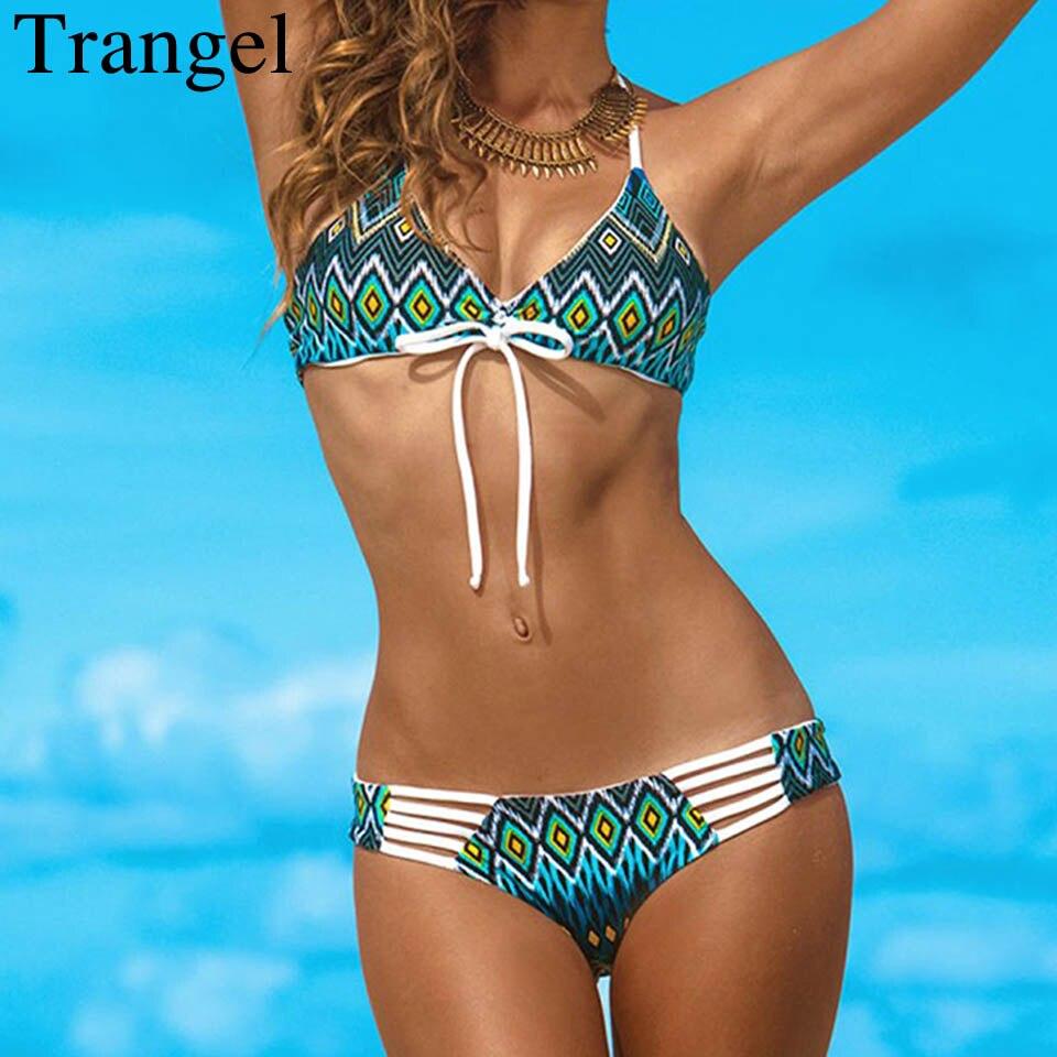 Trangel Bikini 2019 Swimwear Female Swimsuit Print Bather Bikini Thong Swimwear Female Swimsuit Swimming Suit For Women Bikinis