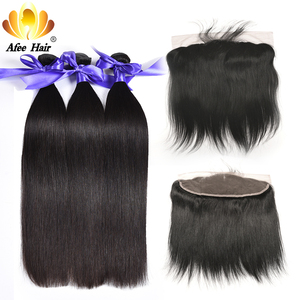 Aliafee #1b/#2/#4 Color Brazilian Straight Hair Bundles With frontal Baby Brazilian Hair Bundles Weave 100% Human Hair Non Remy(China)